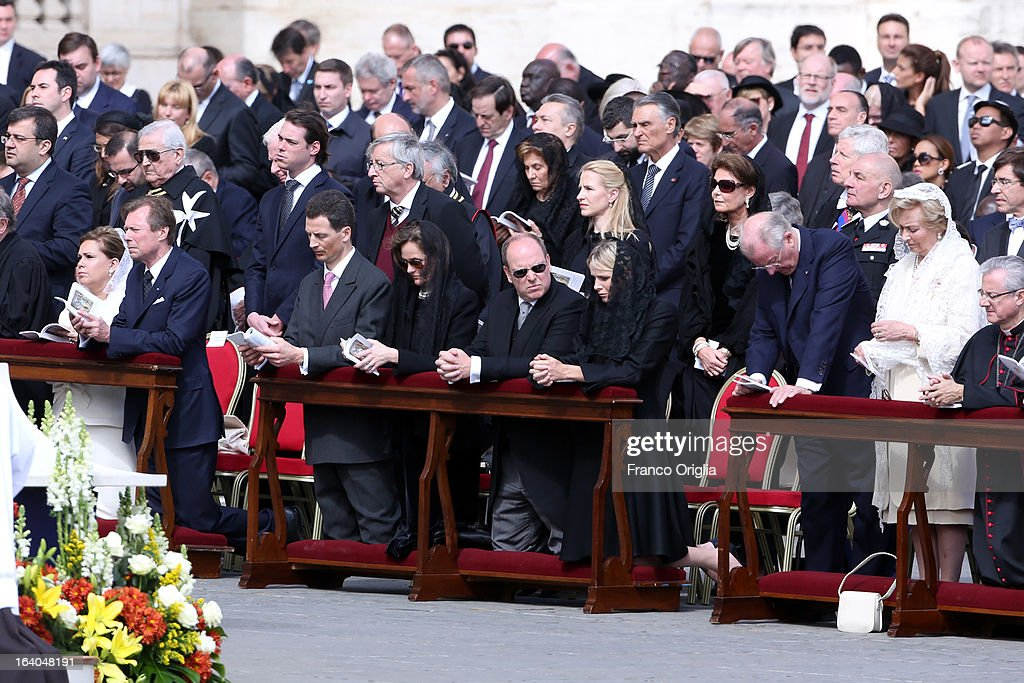 Duchess Maria Teresa of Luxembourg (L), Grand Duke Henri of Luxembourg (2L) and their son Prince Felix, Prince Albert II of Monaco (5R), Princess Charlene of Monaco (4R), King Albert II of Belgium (3R) and Queen Paola of Belgium (2R) attend the Inauguration Mass of Pope Francis in St. Peter's Square on March 19, 2013 in Vatican City, Vatican. The inauguration of Pope Francis is being held in front of an expected crowd of up to one million pilgrims and faithful who have crowded into St Peter's Square and the surrounding streets to see the former Cardinal of Buenos Aires officially take up his position. Pope Francis' inauguration takes place in front his cardinals, spiritual leaders as well as heads of states from around the world and he will now lead an estimated 1.3 billion Catholics.