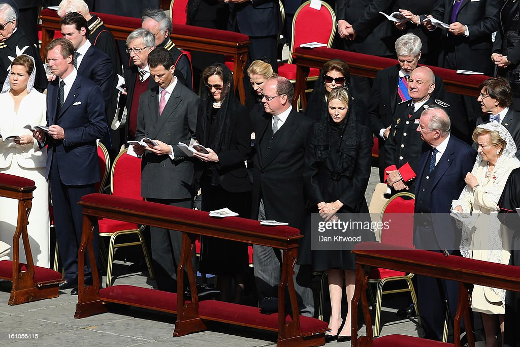 Duchess Maria Teresa of Luxembourg (L), Grand Duke Henri of Luxembourg (2L), Prince Albert II of Monaco (4R), Princess Charlene of Monaco (3R), King Albert II of Belgium (2R) and Queen Paola of Belgium (R) attend the Inauguration Mass for Pope Francis in St Peter's Square on March 19, 2013 in Vatican City, Vatican. The inauguration of Pope Francis is being held in front of an expected crowd of up to one million pilgrims and faithful who have crowded into St Peter's Square and the surrounding streets to see the former Cardinal of Buenos Aires officially take up his position. Pope Francis' inauguration takes place in front his cardinals, spiritual leaders as well as heads of states from around the world and he will now lead an estimated 1.3 billion Catholics.