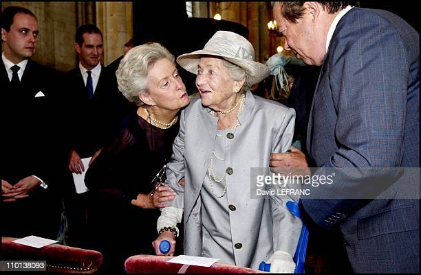 Duchess Marie Therese of Wurtemberg Isabelle d Orleans and Michel d Orleans at 90th birthday celebration of Isabelle d Orleans countess of Paris with...