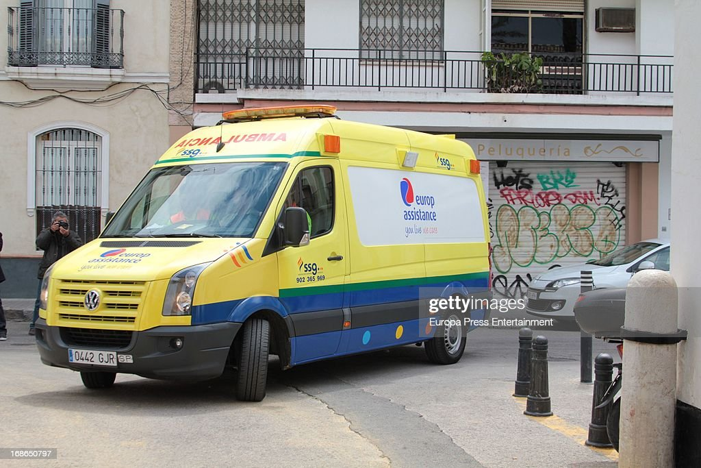 Duchess of Alba Cayetana Fitz James Stuart arrives at Duenas Palace by ambulance on April 30, 2013 in Seville, Spain.