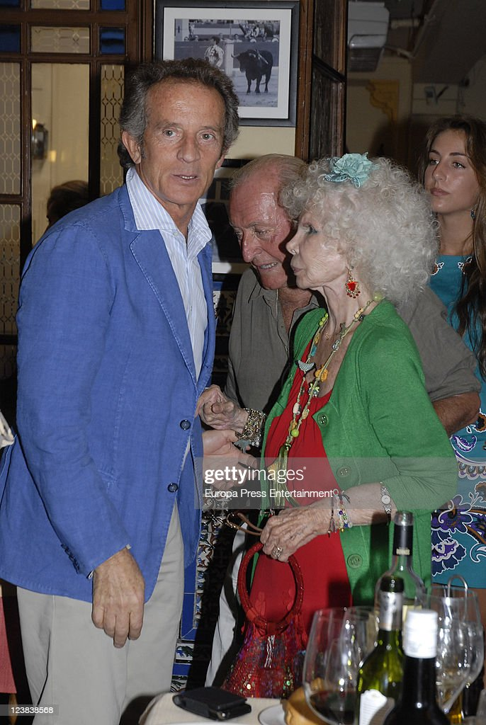 Duchess of Alba, <a gi-track='captionPersonalityLinkClicked' href=/galleries/search?phrase=Cayetana+Fitz-James+Stuart&family=editorial&specificpeople=6090682 ng-click='$event.stopPropagation()'>Cayetana Fitz-James Stuart</a> and <a gi-track='captionPersonalityLinkClicked' href=/galleries/search?phrase=Alfonso+Diez&family=editorial&specificpeople=6697714 ng-click='$event.stopPropagation()'>Alfonso Diez</a> attend the 'Goyesca' Bullfights on September 3, 2011 in Ronda, Spain. The bullfight events, linked to The Feria Goyesca (Feria de Pedro Romero), stem from the inter-relationship of three main personae which spanned over three centuries, all of whom have strong connections to Ronda. These are the famous 18th century bullfighter, Pedro Romero; the 18th century Spanish painter, Francisco de la Goya; and also the 20th century bullfighter, Antonio Ordonez, to whom the vision of the Ronda's modern Feria Goyesca can be attributed.