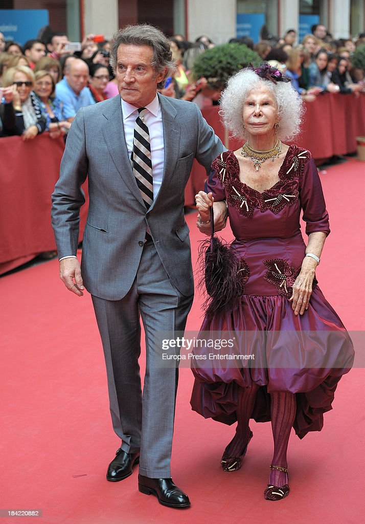 Duchess of Alba <a gi-track='captionPersonalityLinkClicked' href=/galleries/search?phrase=Cayetana+Fitz-James+Stuart&family=editorial&specificpeople=6090682 ng-click='$event.stopPropagation()'>Cayetana Fitz-James Stuart</a> and Duke of Alba <a gi-track='captionPersonalityLinkClicked' href=/galleries/search?phrase=Alfonso+Diez&family=editorial&specificpeople=6697714 ng-click='$event.stopPropagation()'>Alfonso Diez</a> attend the wedding of Maria Colonques and Andres Benet on October 11, 2013 in Villareal, Spain. Maria Colonques is daughter of the president of Porcelanosa, Manuel Colonques.