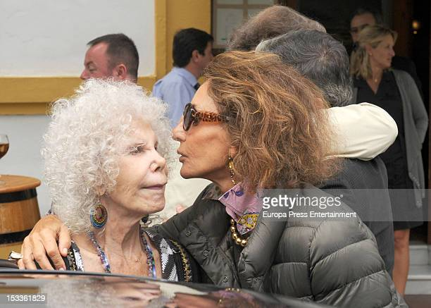 Duchess of Alba Cayetana FitzJames Stuart and Nati Abascal are seen leaving a restaurant on September 29 2012 in Seville Spain