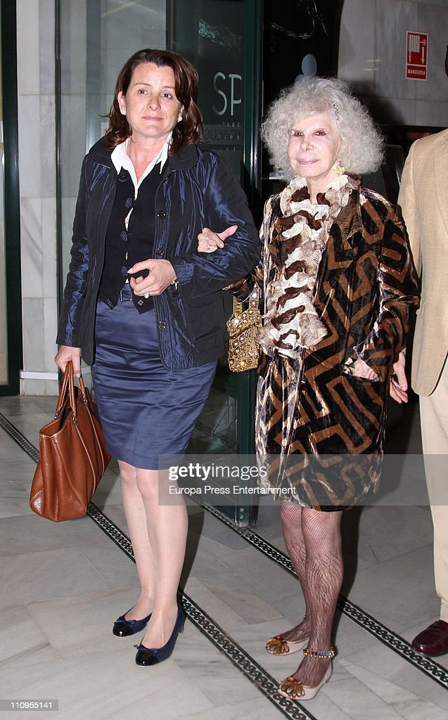 Duchess of Alba, <a gi-track='captionPersonalityLinkClicked' href=/galleries/search?phrase=Cayetana+Fitz-James+Stuart&family=editorial&specificpeople=6090682 ng-click='$event.stopPropagation()'>Cayetana Fitz-James Stuart</a> (R) attends the release of the book 'De Rivera a Ordonez', written by Julian Contreras Jr, at Antares Foundation on March 22, 2011 in Seville, Spain.