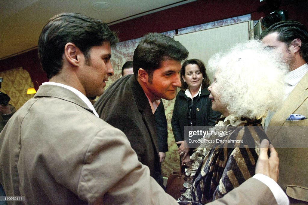 Duchess of Alba, Cayetana Fitz-James Stuart, Francisco Rivera (L) and Julian Contreras jr (2nd L) attend the release of the book 'De Rivera a Ordonez', written by Julian Contreras Jr, at Antares Foundation on March 22, 2011 in Seville, Spain.