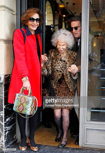 Duchess of Alba Cayetana FitzJames Stuart her husband Alfonso Diez and Nati Abascal are seen on March 13 2014 in Madrid Spain
