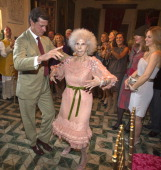 Duchess of Alba Maria del Rosario Cayetana FitzJamesStuart dances with son Cayetano Martinez de Irujo during her wedding ceremony to Alfonso Diez...