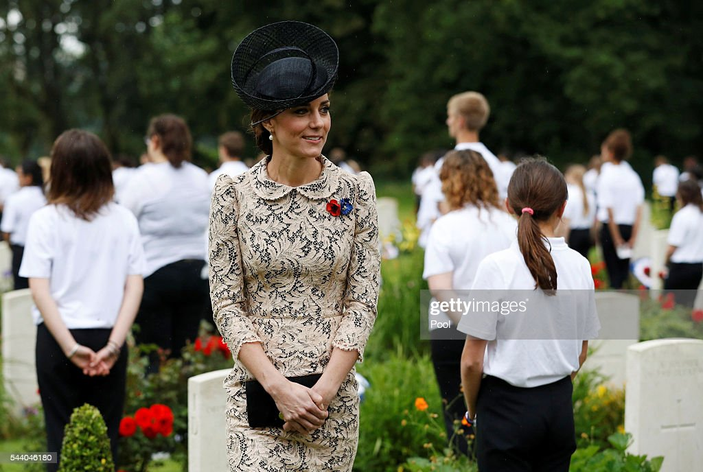 Duchess of Cambridge attends the 100th anniversary of the beginning of the Battle of the Somme at the Thiepval memorial to the Missing on July 1, 2016 in Thiepval, France. The event is part of the Commemoration of the Centenary of the Battle of the Somme at the Commonwealth War Graves Commission Thiepval Memorial in Thiepval, France, where 70,000 British and Commonwealth soldiers with no known grave are commemorated.