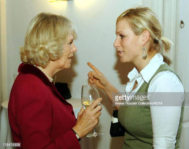 HRH Duchess of Cornwall chats with Zara Phillips before she was presented with the Equestrian Athlete of the Year award at Queen's House Greenwich on...