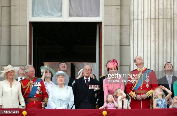 Duchess of Cornwall The Prince of Wales Princess Eugenie Queen Elizabeth II The Duke of Edinburgh Duchess of Cambridge Princess Charlotte Prince...