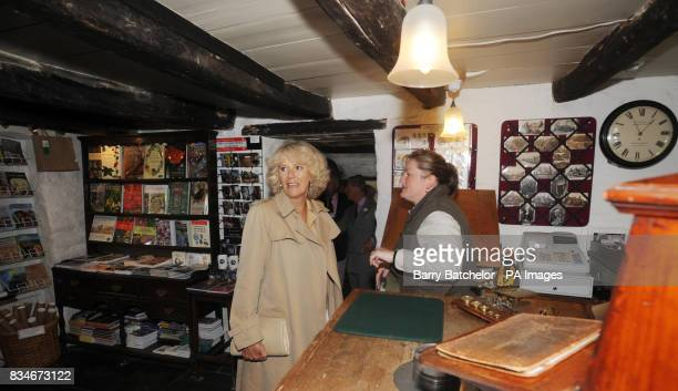 Duchess of Cornwall with Jackie Bull in the Old Post Office at Tintagel Cornwall The Prince and Duchess started their two day visit to Cornwall today