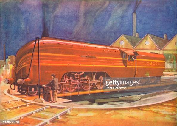 'Duchess of Gloucester LMS on the Turntable Camden Town' 1940 From Trains of Today [Juvenile Productions Ltd London 1940] Artist Unknown