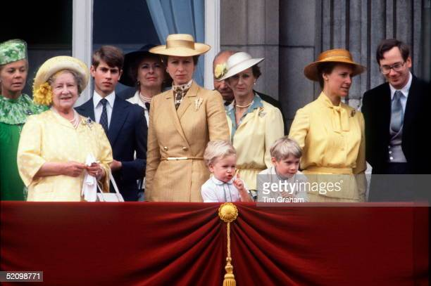 Duchess Of Kent The Queen Mother Prince Edward Princess Anne Princess Alexandra Duchess Of Gloucester And The Duke Of Gloucester Watching Trooping...
