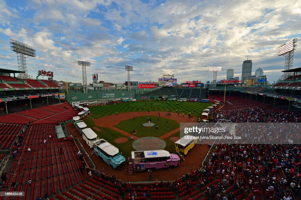 Duck boats line the parameter of Fenway Park before the start of a Boston Red Sox victory parade on November 2, 2013 in Boston, Massachusetts.
