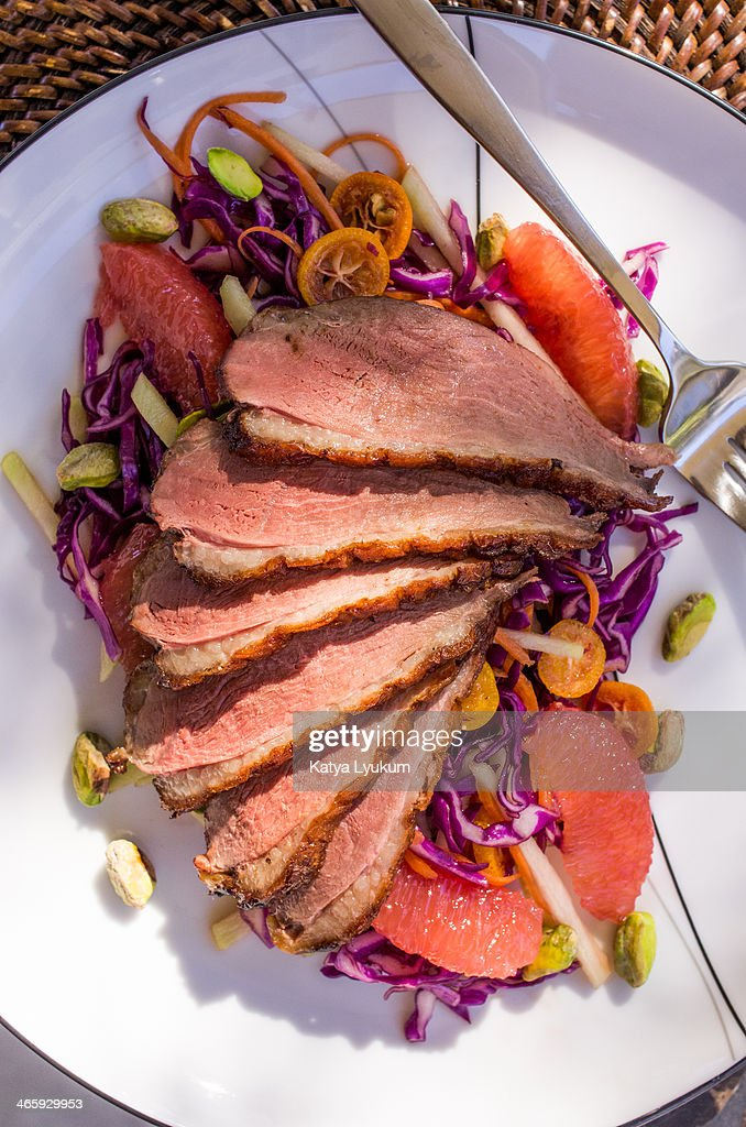 Duck Breast with Red Cabbage Salad : Stock Photo