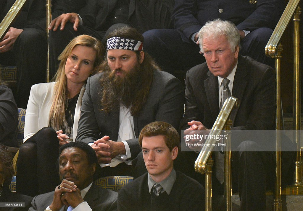 Duck Dynasty stars Korie Robertson and Willie Robertson (CQ spelling) at the U.S. Capitol where President Barack Obama delivers his State of the Union address before a joint session of Congress, on January 28, 2014 in Washington, DC. .