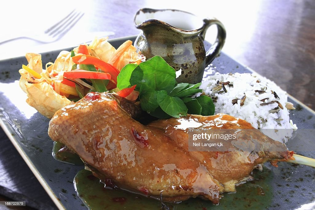 Duck in orange sauce with rice and filo vegetables : Stock Photo