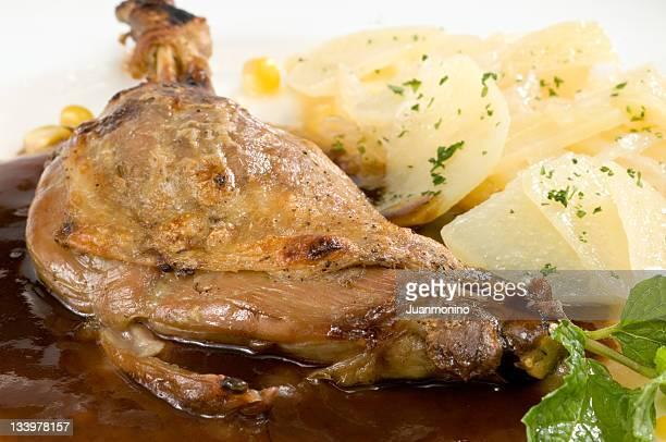 Duck leg in prune sauce