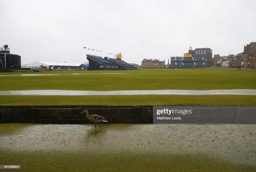 A duck walks across the 18th hole fairway as rain falls prior to the second round of the 144th Open Championship at The Old Course on July 17, 2015 in St Andrews, Scotland. Play is suspended due to adverse weather conditions.