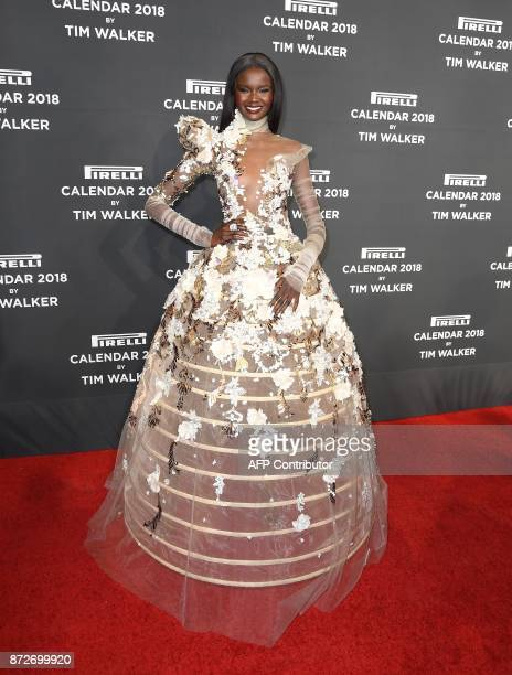 Duckie Thot attends the 2018 Pirelli Calendar Launch Gala at Manhattan Center on November 10 2017 in New York City / AFP PHOTO / ANGELA WEISS