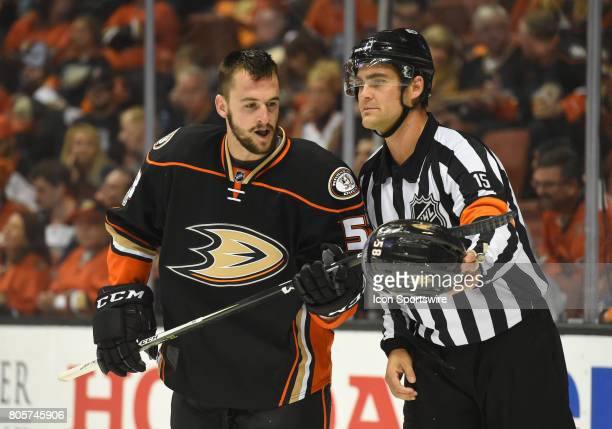 Ducks Nicolas Kerdiles retrieves his helmet after being in a fight during game 5 of the 2017 NHL Western Conference Final between the Nashville...