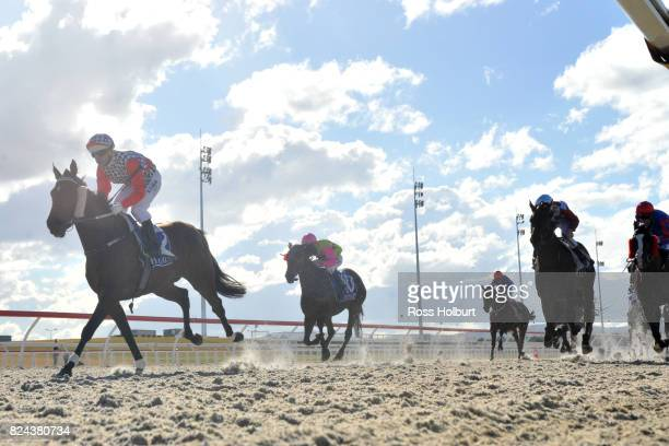 Duckworth Lewis ridden by Daniel Moor wins the Drouin Golf Country Club Maiden Plate at Racingcom Park Synthetic Racecourse on July 18 2017 in...