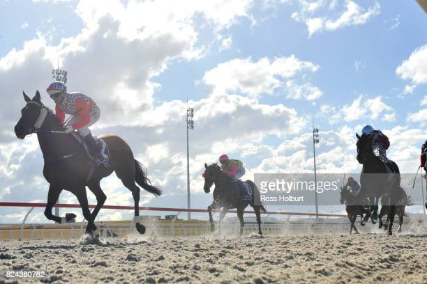 Duckworth Lewis ridden by Daniel Moor wins the Drouin Golf Country Club Maiden Plate at Racingcom Park Synthetic Racecourse on July 30 2017 in...