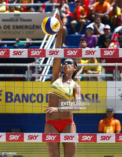 Duda Lisboa of Brazil spikes the ball during the golden medal match against Netherlands at Pajucara beach during day six of the FIVB Beach Volleyball...