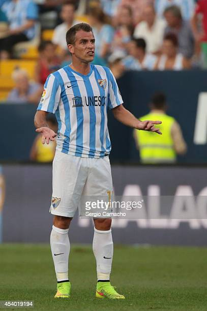 Duda of Malaga CF reacts during the La Liga match between Malaga CF and Athletic Club Bilbao at La Rosaleda Stadium on August 23 2014 in Malaga SpainÊ