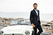 Dude in suit with cool car, portrait