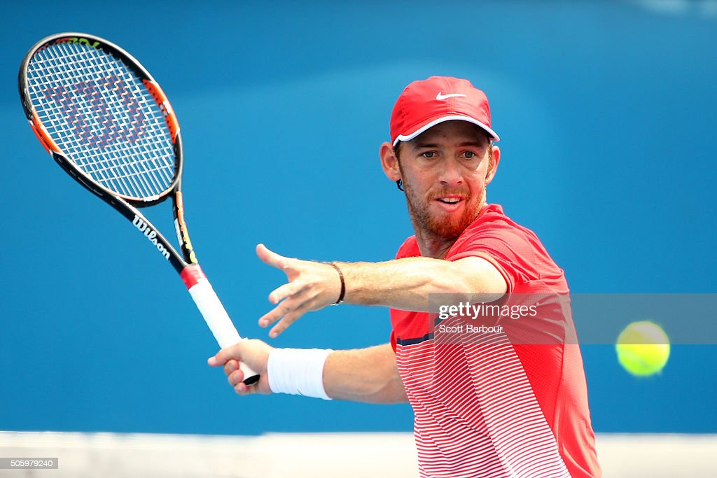 <a gi-track='captionPersonalityLinkClicked' href=/galleries/search?phrase=Dudi+Sela&family=editorial&specificpeople=553801 ng-click='$event.stopPropagation()'>Dudi Sela</a> of Israel plays a forehand in his second round match against Fernando Verdasco of Spain during day four of the 2016 Australian Open at Melbourne Park on January 21, 2016 in Melbourne, Australia.
