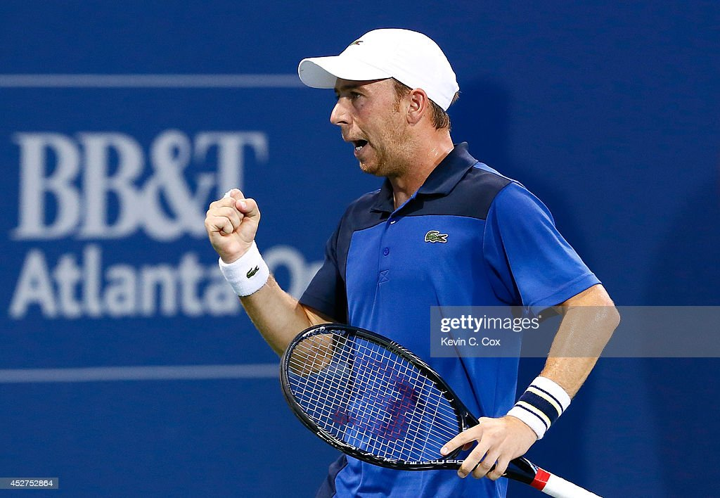 <a gi-track='captionPersonalityLinkClicked' href=/galleries/search?phrase=Dudi+Sela&family=editorial&specificpeople=553801 ng-click='$event.stopPropagation()'>Dudi Sela</a> of Israel reacts after winning a game against Benjamin Becker of Germany during the BB&T Atlanta Open at Atlantic Station on July 26, 2014 in Atlanta, Georgia.