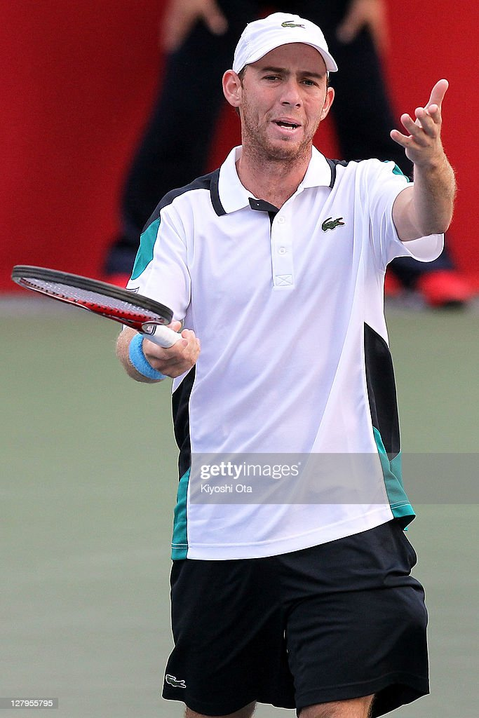 <a gi-track='captionPersonalityLinkClicked' href=/galleries/search?phrase=Dudi+Sela&family=editorial&specificpeople=553801 ng-click='$event.stopPropagation()'>Dudi Sela</a> of Israel reacts as he plays in his first round match against Tatsuma Ito of Japan during day two of the Rakuten Open at Ariake Colosseum on October 4, 2011 in Tokyo, Japan.