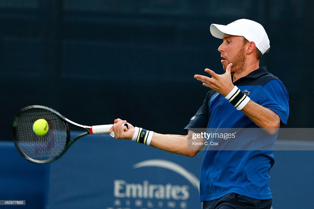 Dudi Sela of Israel returns a forehand to Sam Querrey during the BB&T Atlanta Open at Atlantic Station on July 23, 2014 in Atlanta, Georgia.