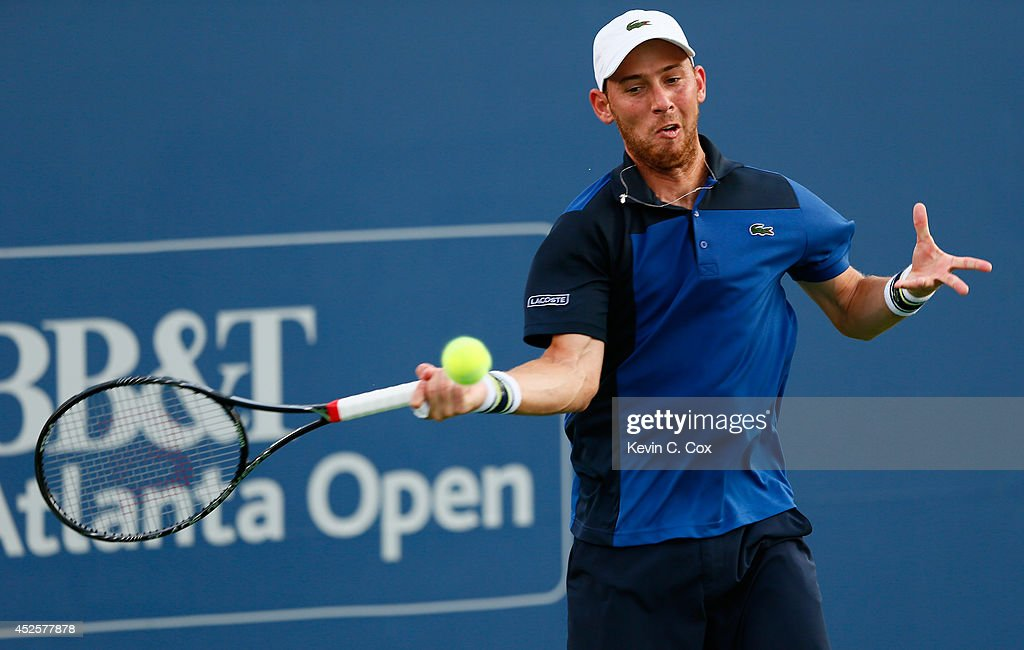 <a gi-track='captionPersonalityLinkClicked' href=/galleries/search?phrase=Dudi+Sela&family=editorial&specificpeople=553801 ng-click='$event.stopPropagation()'>Dudi Sela</a> of Israel returns a forehand to Sam Querrey during the BB&T Atlanta Open at Atlantic Station on July 23, 2014 in Atlanta, Georgia.