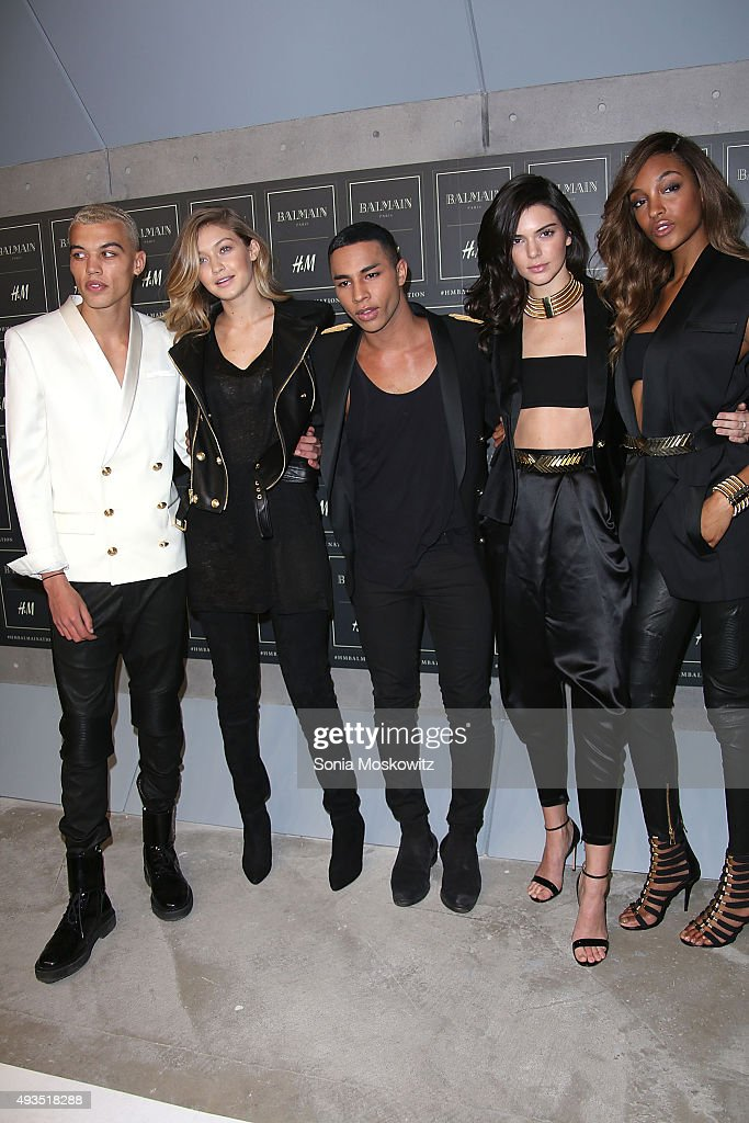 Dudley O'Shaughnessy, Gigi Hadid, Olivier Rousteing, Kendall Jenner, and Jourdan Dunn arrive at the BALMAIN X H&M collection launch event at 23 Wall Street on October 20, 2015 in New York City.