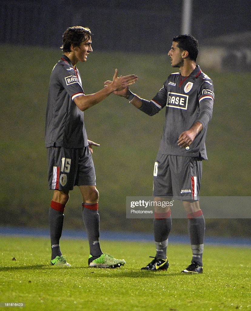 Dudu Biton and Julien De Sart celebrates scoring a goal pictured during the Cofidis Cup match between White Star and Standard of Liege on september 25 , 2013 in Woluwe, Belgium.
