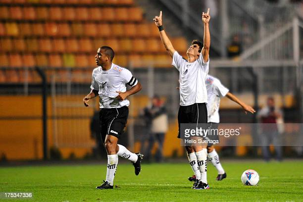 Dudu of Bragantino celebrates a scored goal during the match between Palmeiras and Bragantino for the Brazilian Championship Serie B 2013 at Pacaembu...