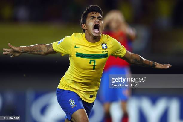 Dudu of Brazil celebrates his team's second goal during the FIFA U20 World Cup 2011 quarter final match between Brazil and Spain at Estadio Hernan...