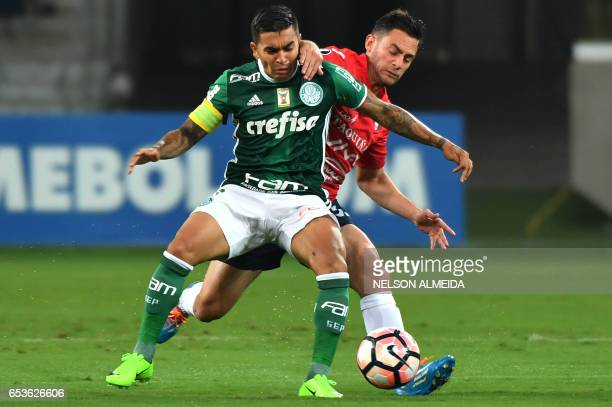 Dudu of Brazil's Palmeiras vies for the ball with Fernando Saucedo of Bolivia's Jorge Wilstermann during their Libertadores Cup football match held...