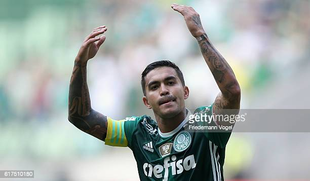 Dudu of Palmeiras celebrates scoring the first goal during the match between Palmeiras and Sport Recife for the Brazilian Series A 2016 at Allianz...