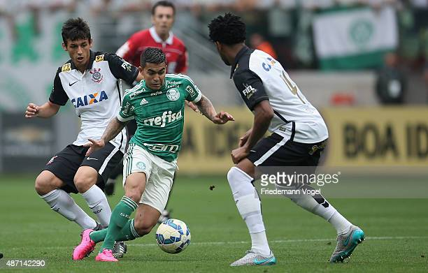 Dudu of Palmeiras fights for the ball with Marciel of Corinthians during the match between Palmeiras and Corinthians for the Brazilian Series A 2015...