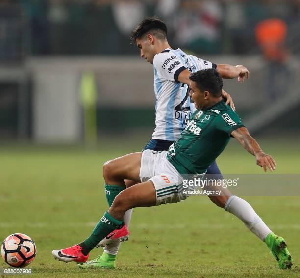 Dudu of Palmeiras in action against Leonel Di Plácido of Atletico Tucuman during Copa Libertadores of America match between Palmeiras and Atletico...