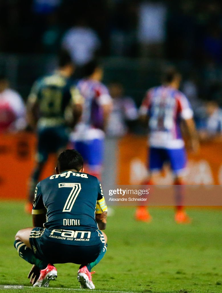 Dudu of Palmeiras reacts during the match between Palmeiras v Bahia for the Brasileirao Series A 2017 at Pacaembu Stadium on October 12, 2017 in Sao Paulo, Brazil.