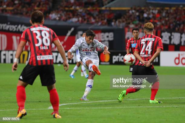 Dudu of Ventforet Kofu shoots at goal during the JLeague J1 match between Consadole Sapporo and Ventforet Kofu at Sapporo Dome on August 13 2017 in...