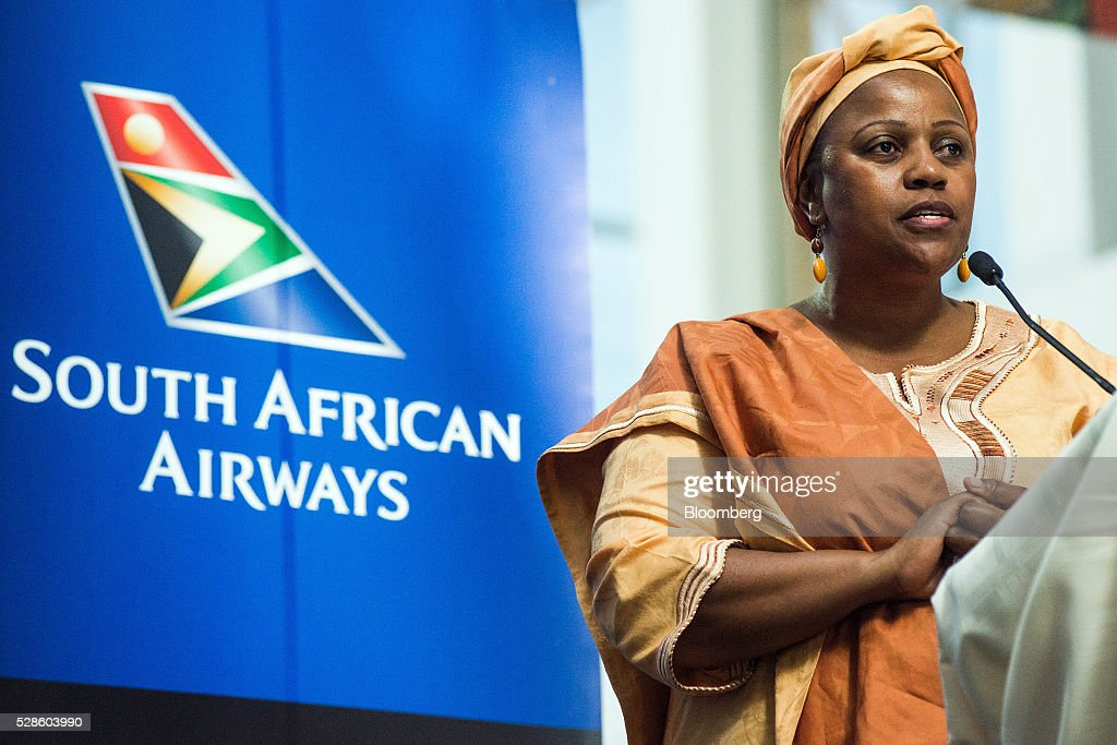 Duduzile Myeni, chairwoman of South African Airways (SAA), speaks during a visit to the company's offices by South Africa's President Jacob Zuma in Johannesburg, South Africa, on Friday, May 6, 2016. It appears to be just a matter of time before South Africas credit rating is cut to junk. Photographer: Waldo Swiegers/Bloomberg via Getty Images