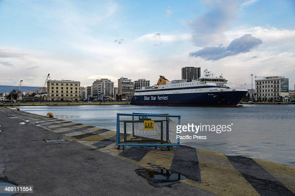 HARBOR PIRAEUS ATTICA GREECE Due to bad weather a prohibition to leave keeps the ferry boats in the harbor of Piraeus