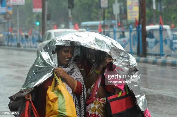 Due to depression it rains throughout the city last night at Sealdah area on October 9 2017 in Kolkata India Incessant rain and squally wind affected...