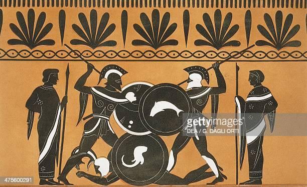 Duel between Ajax and Hercules to recover Patroclus' body illustration from Collection des vases grecs de le Comte de M Lamberg vol II Table 13 Paris...
