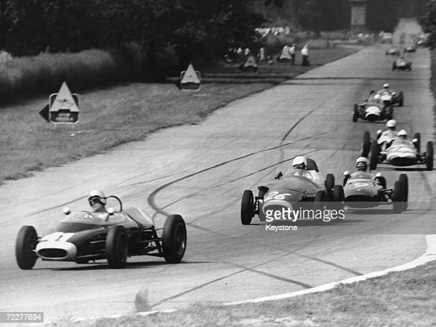 A duel between Rob Slotemaker in a Ford Lola for the Fitzwilliams team and Gastone Zanarotti in a Fiat Stanguellini at the Junior Formula race of the...
